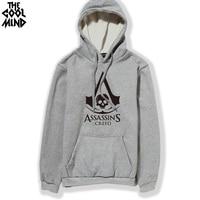 THE COOLMIND pamuk blend assassins creed baskılı erkekler şapka ile Hoodies polar kalın casual gevşek hoodie erkekler kapüşonlu sweatshirt