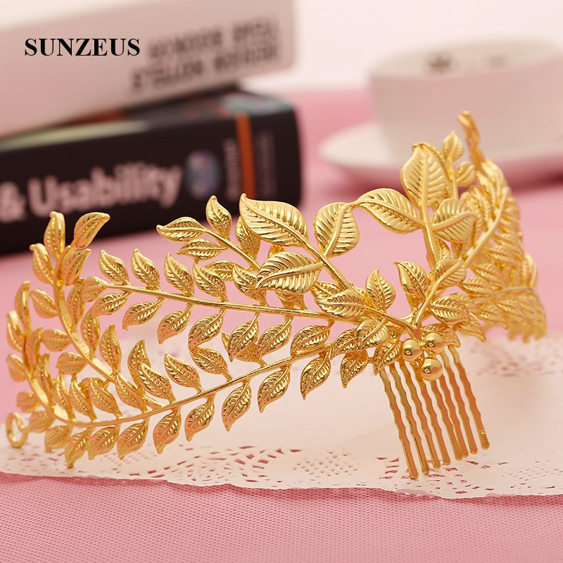 Bridal Headband With Comb Gold Leaves Tiaras And Crown Wedding Hair Accessories Vintage Girls Hair Decoration SHA69