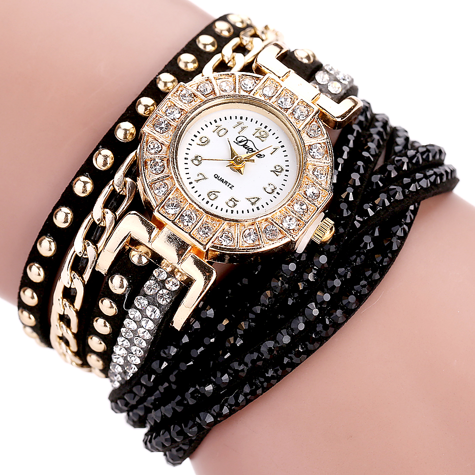 Duoya Fashion Watch Kvinnor Luxury Gold Crystal Armband Klänning Klockor Ladies Vintage Business Quartz Armbandsur Dropshipping
