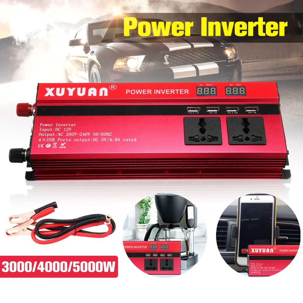 цена на Solar Power Inverter 3000/5000W Sine Wave Car Inverter DC-AC 12V/24V 220V Converter 4 USB Output Port Dual LED Display Inversor