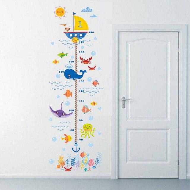 Océano subacuático mundo altura medida pegatinas de pared para niños ...