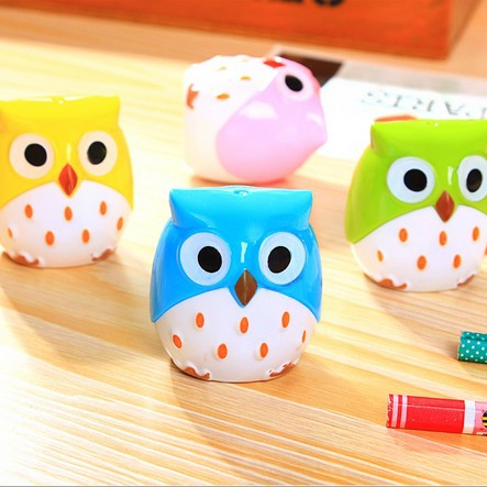 Style; 24pcs/lot Cute Owl Design Double Orifice Mini Pencil Sharpener 4 Colors Pencil Sharpener Wholesale Fashionable In