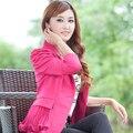 S-6XL Hot 2016 new women Coreano moda slim curto único botão plus size primavera outono doces cor do laço blazer terno M0207