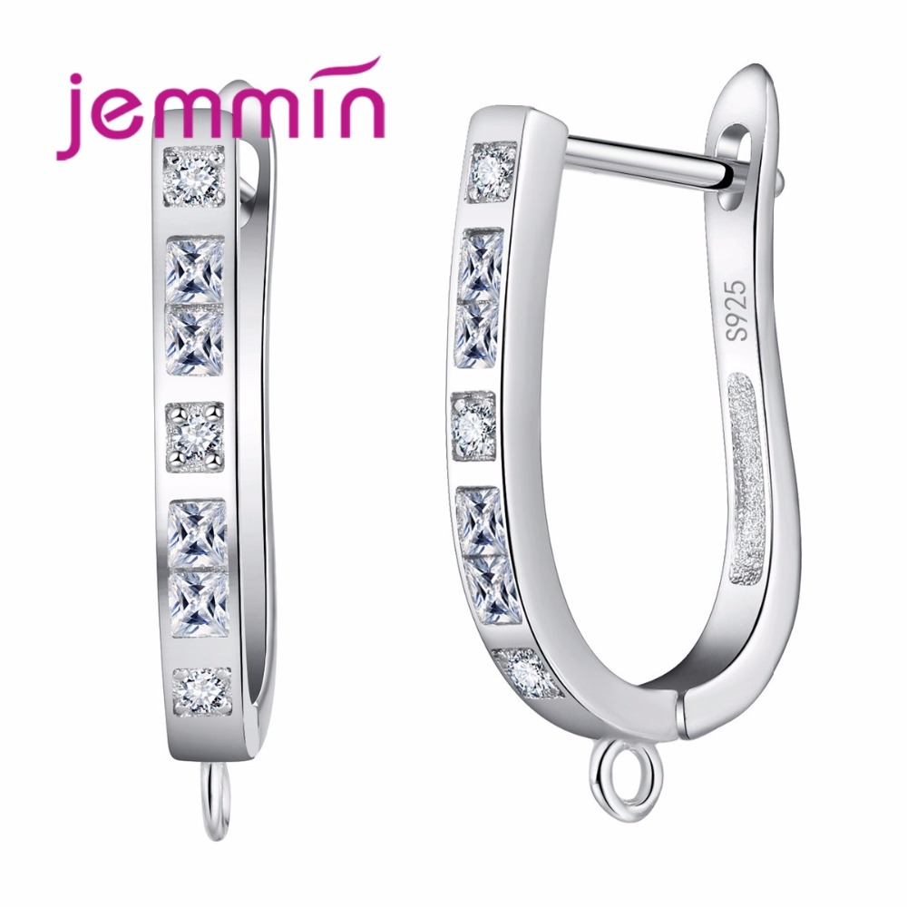 Jemmin Russia S925 Sterling Sliver Earrings New Arrival Sparking Sample Design Big Loop Jewelry  for Women DIY Bijoux Making