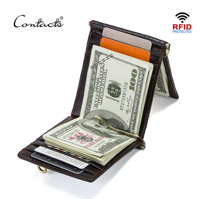 CONTACT'S Crazy Horse cowhide leather RFID money clip slim card wallet trifold male cash clamp man cash holder zip coin pocket