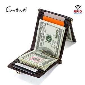 Image 1 - CONTACTS מטורף סוס עור פרה עור RFID כסף קליפ slim כרטיס ארנק trifold זכר מזומנים מהדק איש מזומנים מחזיק zip מטבע כיס