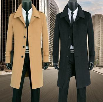 Plus size S-9XL casual homens casaco de lã engrosse trench coats casaco de mangas compridas casaco de caxemira dos homens inglaterra cáqui preto