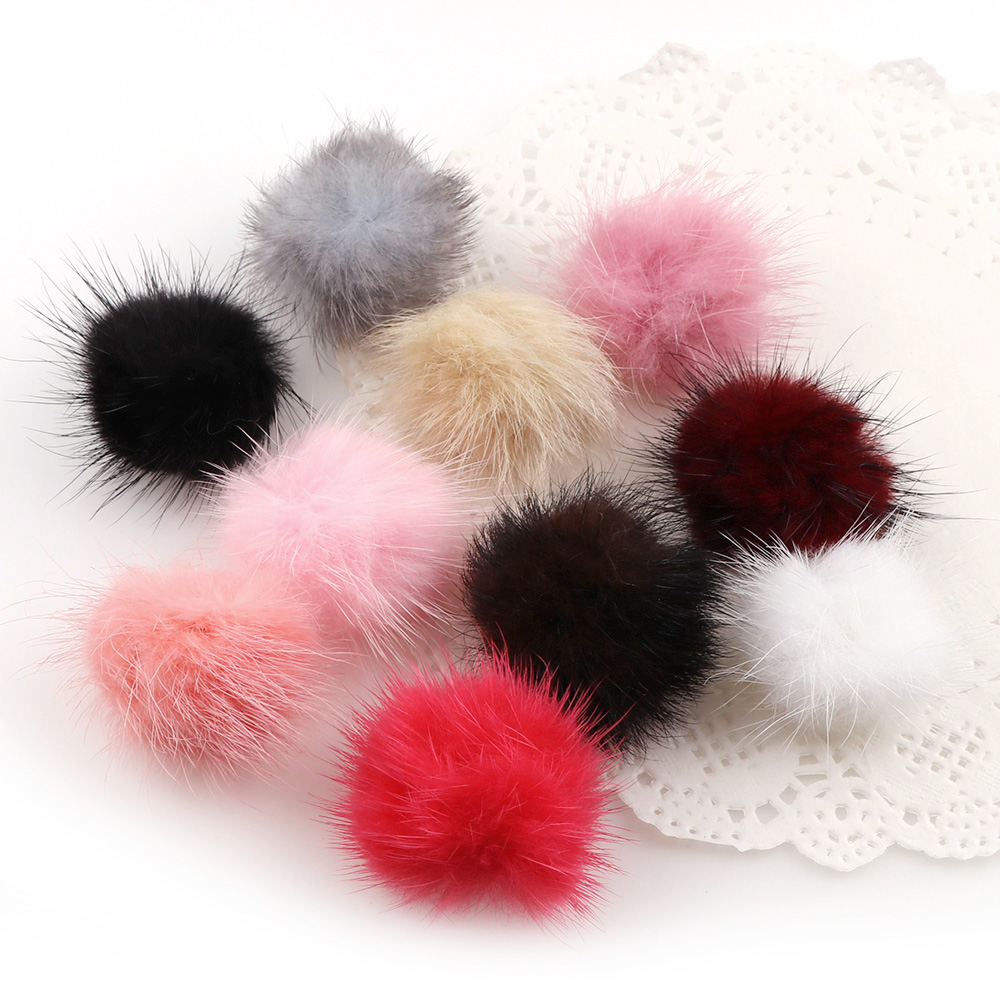 Mink Hair Pompom Suede Tassels Long Pendant Necklaces 4 Colors Fashion Jewelry