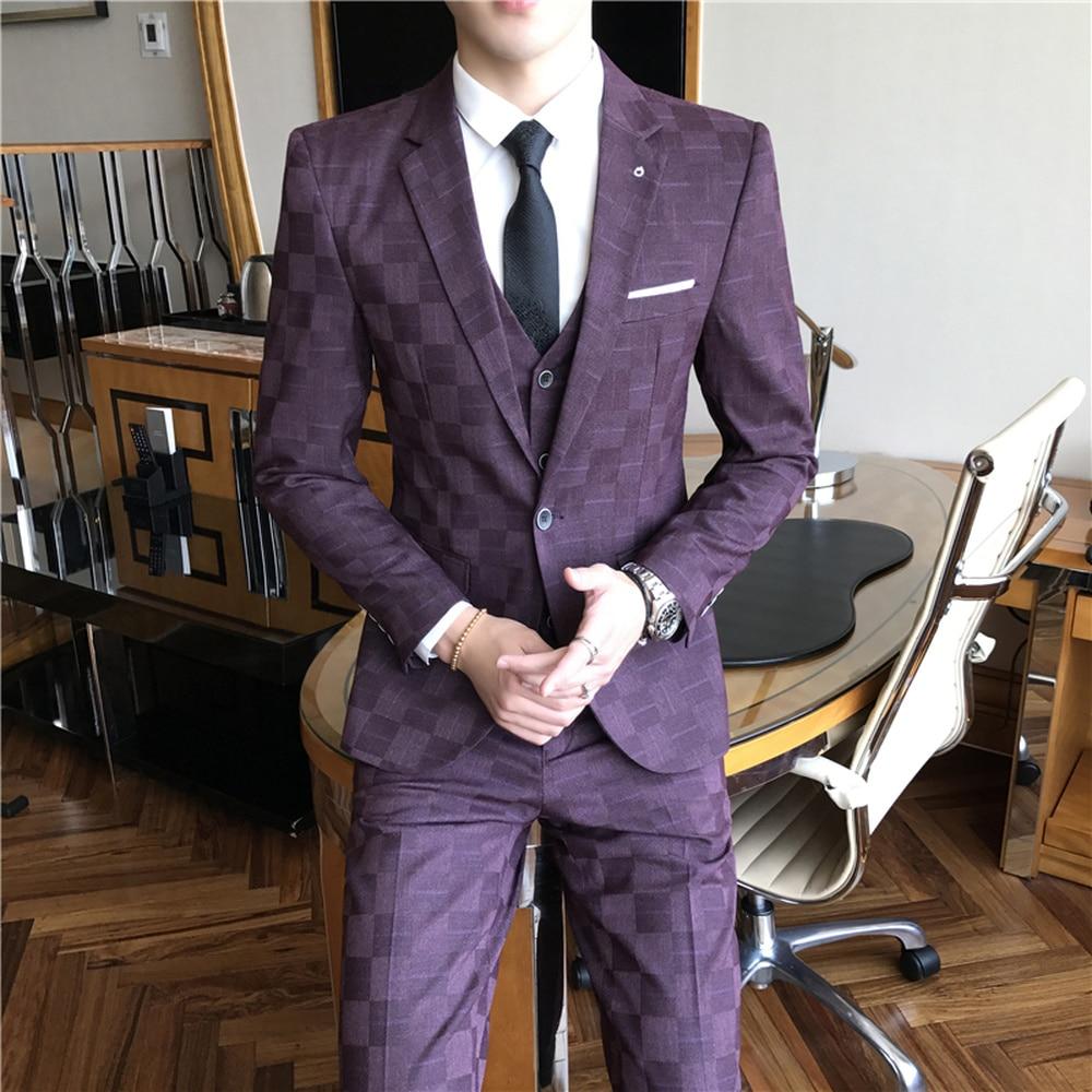 Mannen Formele Pak 3 Delige Set Business Bruiloft Mannelijke Grid Suits Jassen met Vest en Broek Slanke Elegante man Sets-in Pakken van Mannenkleding op  Groep 2