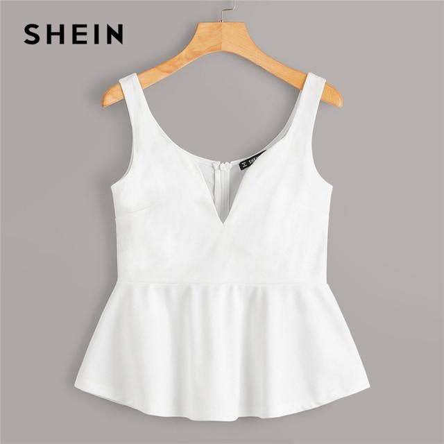 SHEIN Sexy White Zip Back Sweetheart Neck Peplum Tank Top Women Summer Slim Fitted Solid 2019 Elegant High Street Vests 4