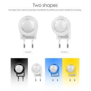 Image 2 - Mini Cute LED Socket Night light EU Plug Sensor auto on/off Wall lamp 110V 240V LED light Baby Kids Bedroom home night lighting