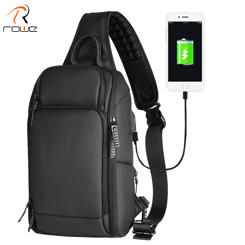 ROWE Black Chest Pack Men Casual Shoulder Crossbody Bag USB Charging Chest Bag Water Repellent Travel Messenger Bag Male Fashion