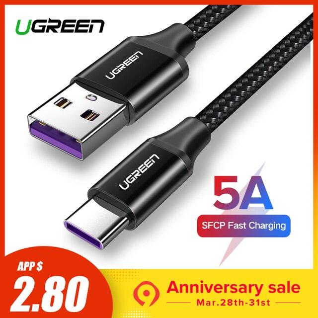 Ugreen USB C 5A перегружать Тип usb C кабель для huawei p20 lite быстрой зарядки Fast Зарядное устройство кабель для samsung S9 8 примечание 9