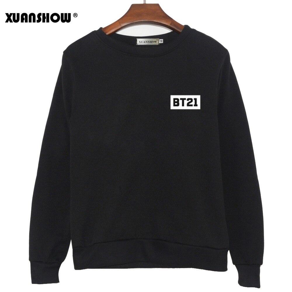 XUNASHOW 2019 Neue BT21 Sweatshirt für Männer Frauen Koreanische Lange Hülse BTS Kpop Album Kleidung Cartoon Buchstaben Drucken Tops S-5XL