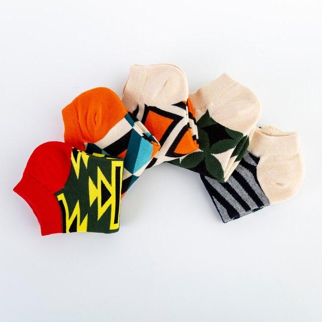 Jhouson High Quality Men's Casual Novelty Socks New 2019 Summer Ankle Socks Combed Cotton Plaid Striped Dress Boat Socks 4