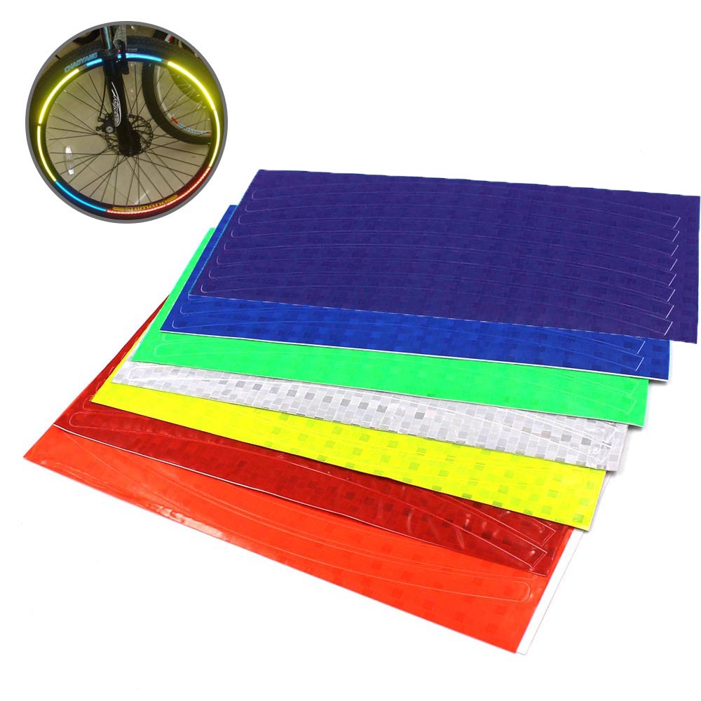 Fluorescent Cycling Wheel Tire Reflective Stickers Motorcycle MTB Mountain Road Bike Bicycle DIY Reflectives Stickers Strip