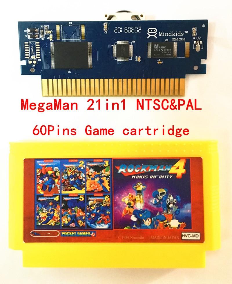 For MegaMan1-6 RockMan1-6 73in1-NTSC&PAL Games Cartridge 60 Pins Yellow Shell Game Cartridge