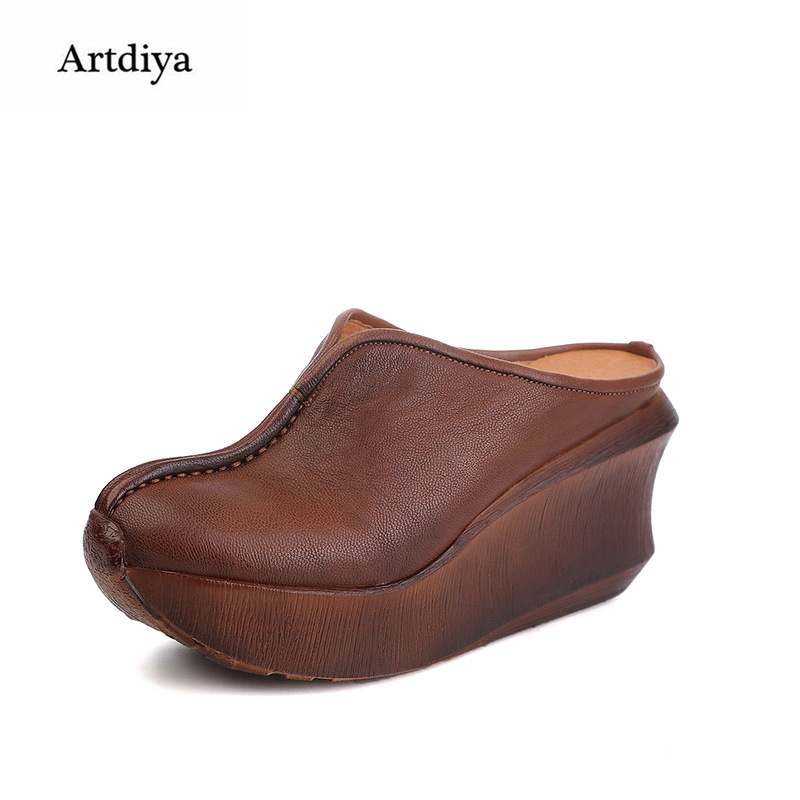 Artdiya 2018 New Summer Ladies' Slippers Genuine Leather Thick Soles Handmade Wedges High Heels Women Sandals 936-30 2018 new high end leather comfortable feet sandals classic sandals handmade leather slippers handmade leather slippers