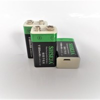 NEW 1180mAh 9V 6F22 Li ion Lithium Rechargeable Battery for Electronic Smoke Guitar 9V USB Rechargeable Battery