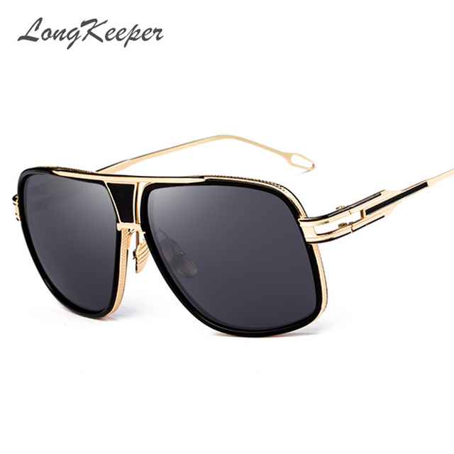 c4151d58be LongKeeper Fashion Men Big Square Sunglasses Man Luxury Brand Designer  Oversized Metal Women Sun Glasses For Male Driving UV400