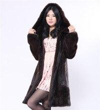 natural fur mink coat with large size 6xl,genuine fur coat with a hood,dark brown long fur coat of mink