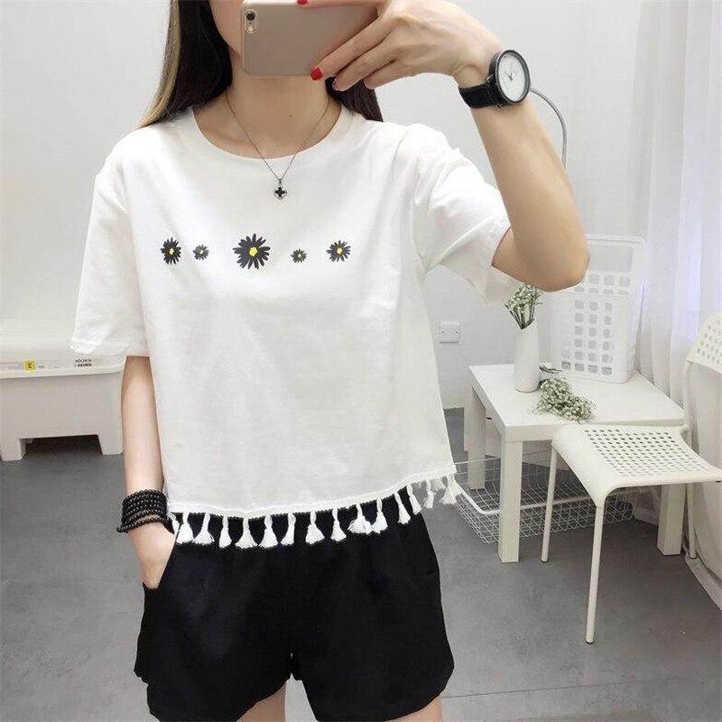 Gagarich Tassel Women Short T-Shirts Short Sleeve Flowers Embroidery Kawaii Women Tshirt Cotton
