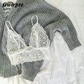 Sexy triángulo floral blanco de Encaje transparente sujetador sujetador bralette intimates Negro blusa entallada mujeres de tiras Transparentes 050