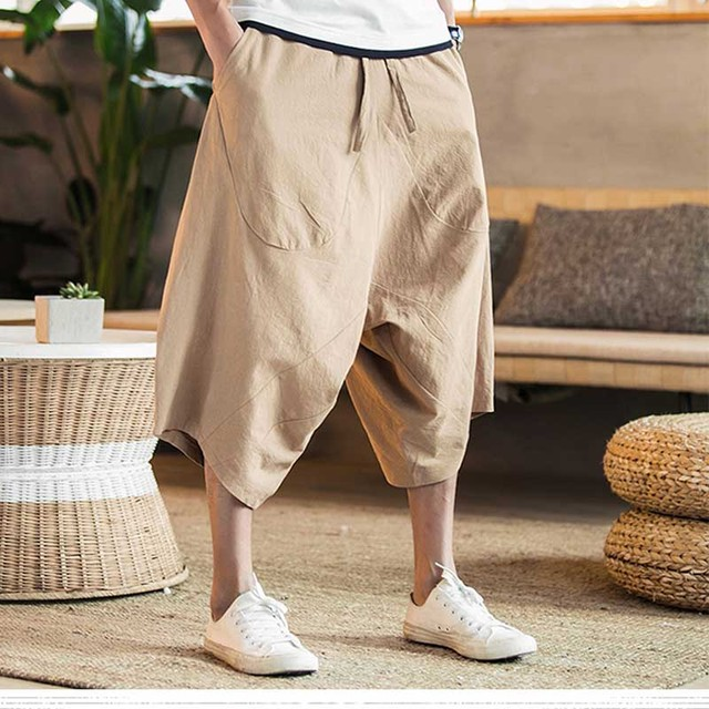 c9eeb52cffb Fashion new style Men s wide crotch harem pants loose summer large cropped  trousers wide-legged bloomers Chinese style flaxen ba