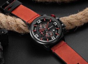 Image 4 - Neue herren Uhr CURREN Marke Luxus Mode Chronograph Quarz Sport Armbanduhr Hohe Qualität Lederband Datum Männlich Uhr