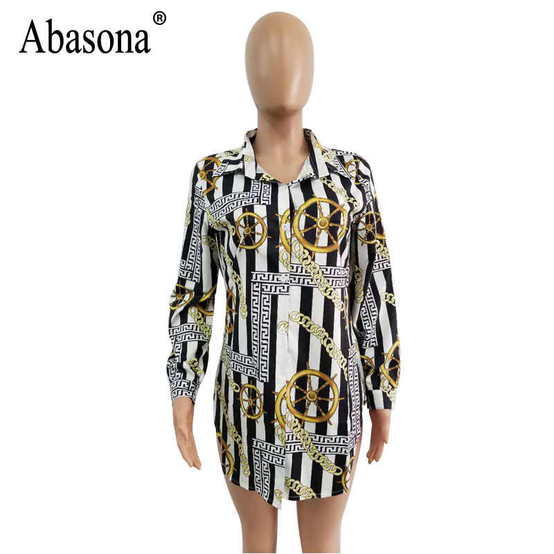 4979cc6a ... Abasona Chain Printed Shirt Dress Women Long Sleeve Turn Down Collar Party  Dresses Casual Loose Mini ...