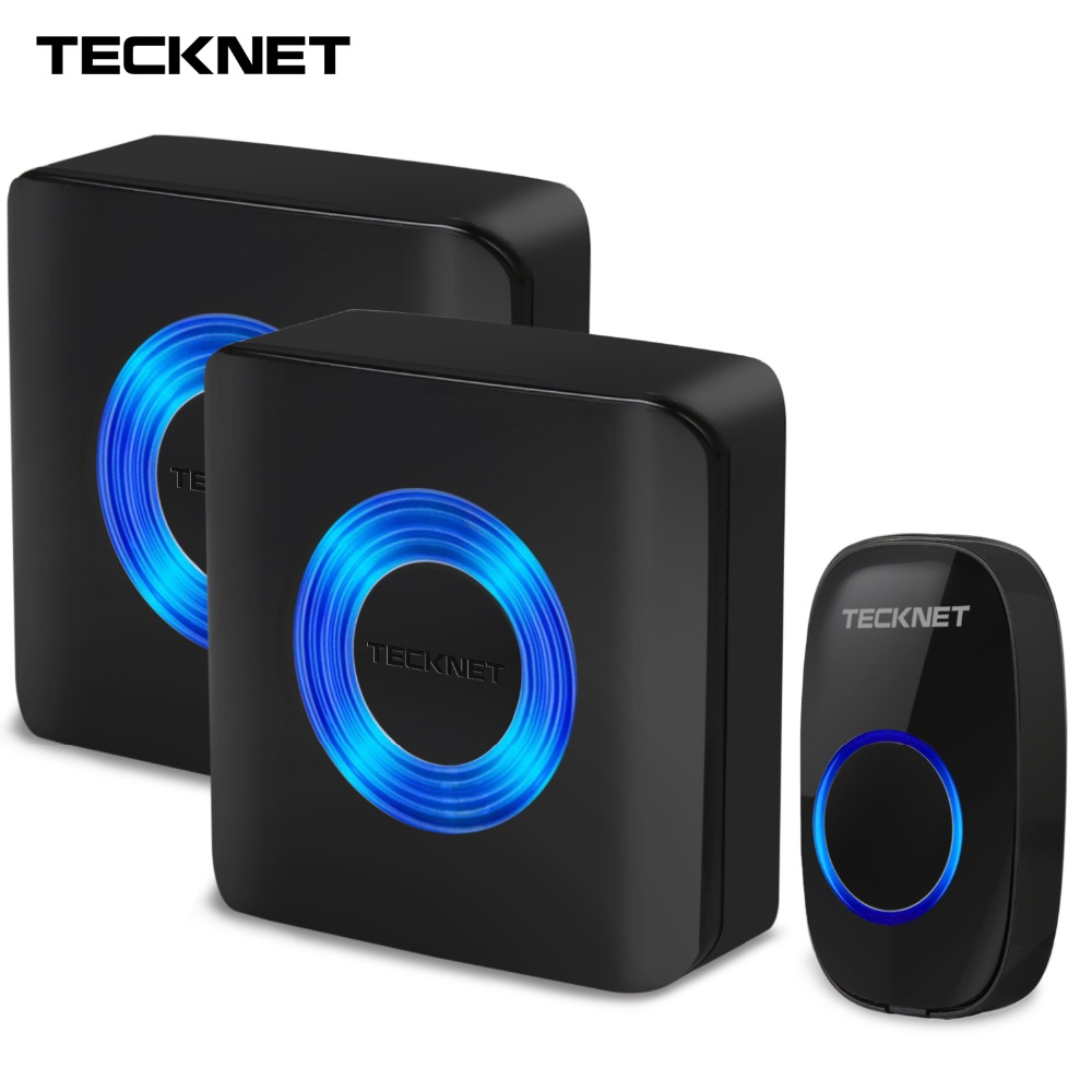TeckNet Wireless Doorbell Twin Wall Plug-in Cordless Door Chime Bell 300m Range 52 Chime 4-Level Volume EU Plug Door Entry Bells ks v2 welcom chime bell sensor