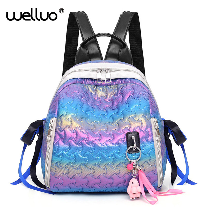Colorful Plaid Women Backpack Fashion Bow Travel Shell Bags Cute Pendant Tassel School Bag Hologram Laser Bag Bolsas New XA618WB