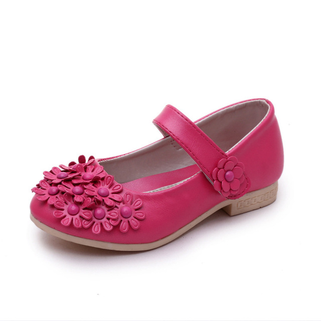 Spring PU Leather Flower Children Shoes Girls Dance Performance Shoes Soft Sole Princess Girls Fashion Single Shoes TX88
