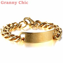 Granny Chic 8.26″ Womens Men's 316l Stainless Steel Jewelry Cross Bible Pattern Gold Color Cuban Hand Chain Men Bracelet Bangle