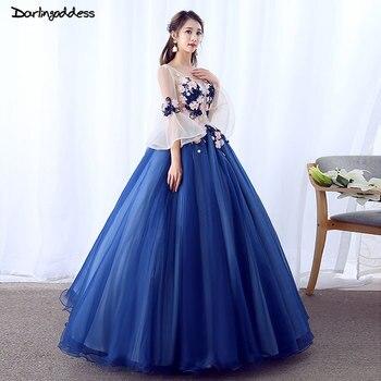 876243f600f Vestido De 15 anos Бальные платья королевский синий дебютантка платье 2018  бальное одежда с длинным рукавом красивое кружево с цветами Вечерние