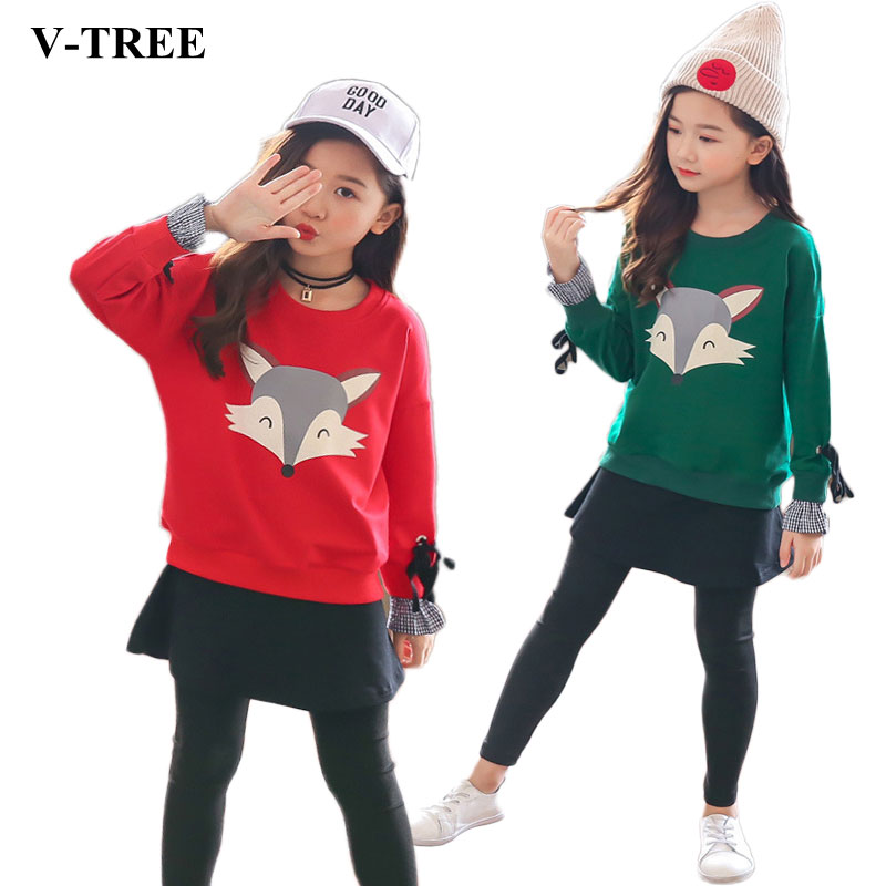 2018 Autumn Winter Girls Clothing Sets Long Sleeve Sweatshirts+skirt Leggings Clothes Sets For Children Outfits Kids Tracksuits autumn children s sets girls skirt set children woolen set kids long sleeve hooded coat skirt 2pcs princess clothing for 3y 10y