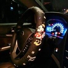 Мультяшные милые чехлы на руль с принтом Микки Мауса, автомобильные чехлы на колеса, черные латексные аксессуары для салона автомобиля для девочек