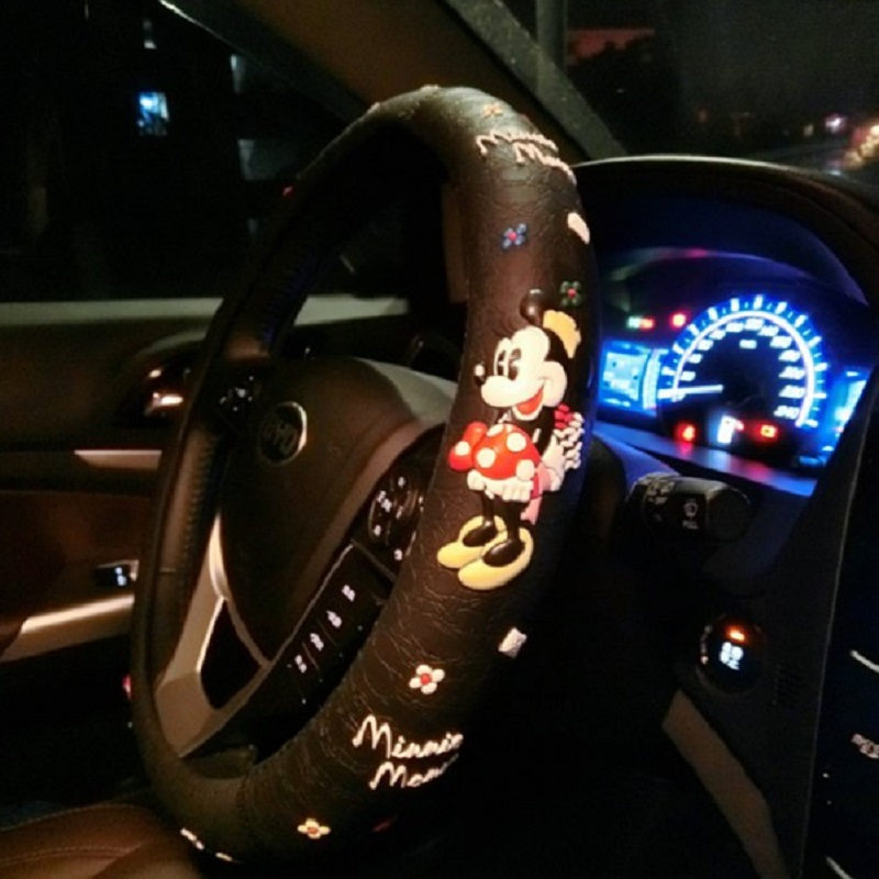 Cartoon Cute Steering Wheel Covers Mickey Mouse Printed Car styling Wheel Cover Black Latex Car Interior Accessories For Girls|Steering Covers| |  - title=
