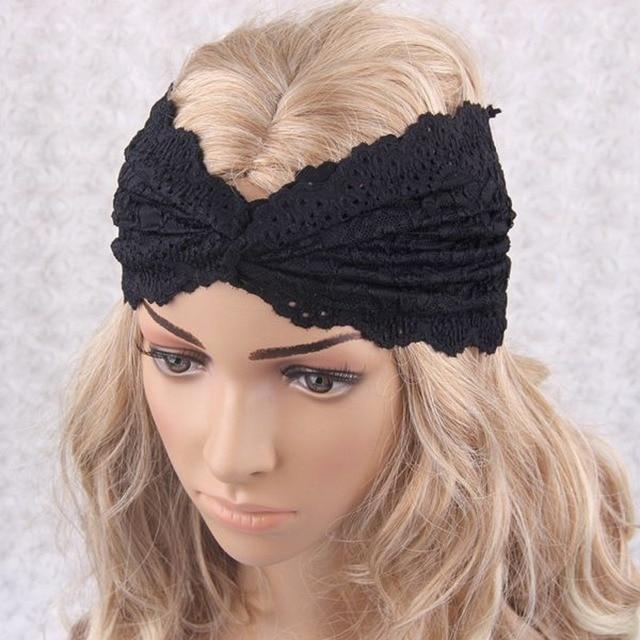 Muslim Turban Headband Black Lace Turban Cross Headwrap Lace Hairband Hair  Accessories 5447af25a1e