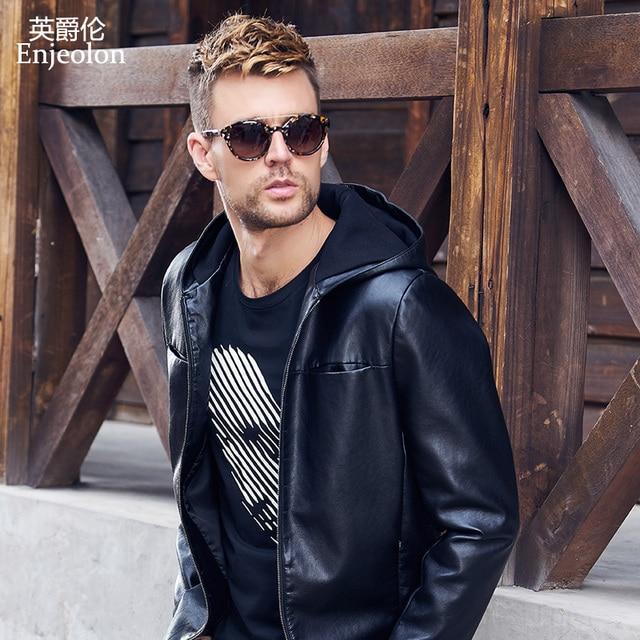 85e1ad516bf Enjeolon brand new PU Motorcycle Leather hoodies Jackets Men Winter jacket  coat Male fashion black hooded PU jacket Coats P367