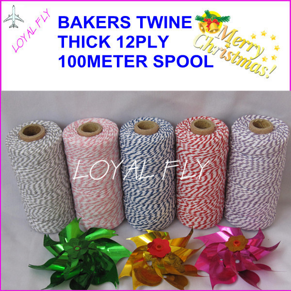 20pcs/lot cotton bakers twine 12ply thick, 100m/spool, cotton twisted rope, used in gift,greeting card
