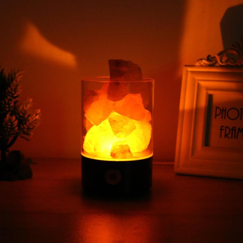 Romantic Cylinder Crystal Salt Lamp Ambient Light Negative Ions Air Purifier Nightlight Home Aisle Bedroom Decorative Lamp