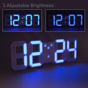 Светодиодный цифровой будильник с большой цифрой, 3D настенные часы, 8 форм, электронная настольная полка для часов, часы Nixie, Horloge, настенные ч...