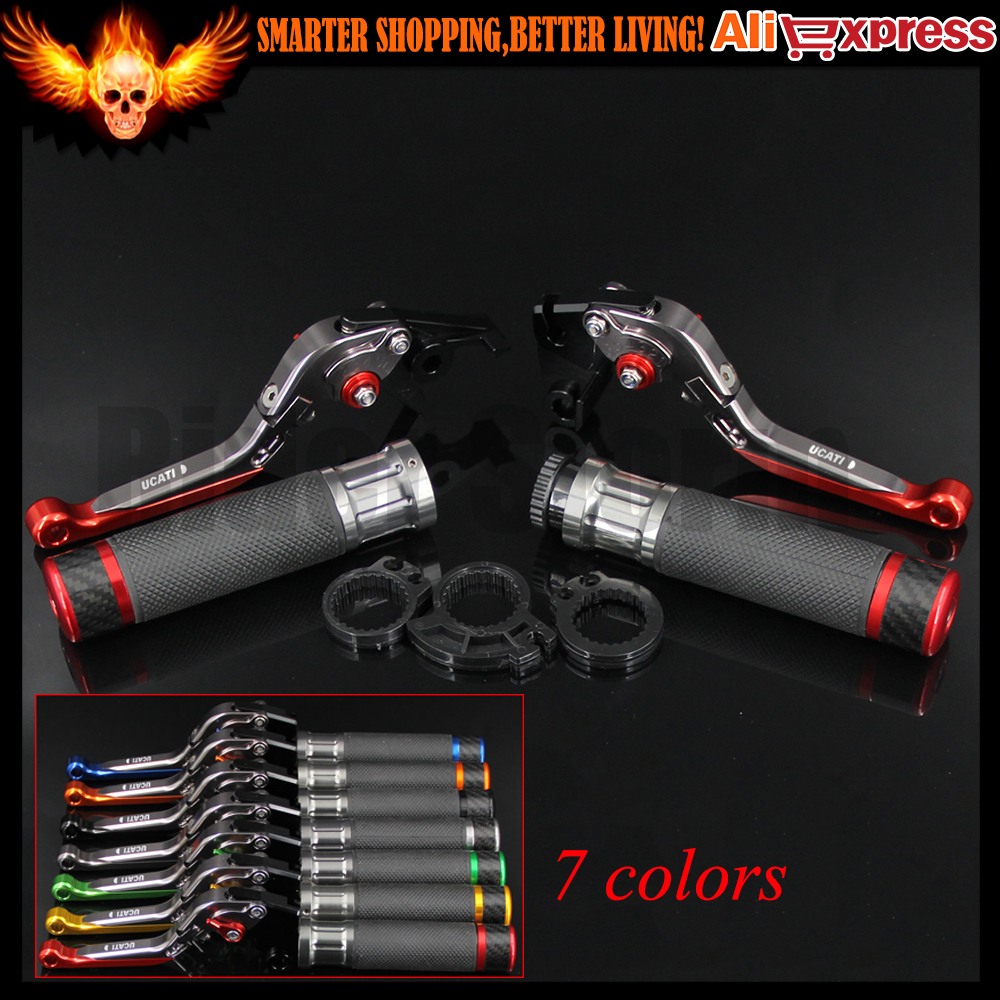 7 Colors Red+Titanium CNC Adjustable Extendable Motorcycle Brake Clutch Levers&Handlebar Hand Grips For Ducati 959 Panigale 2016 cnc adjustable folding extendable motorcycle brake clutch levers and handlebar hand grips for bmw k1200r k1200r sport k1200s