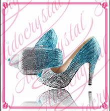 Aidocrystal women fashion leather shoes Wholesale shoe and bag set white with blue crystal shoes and matching bag