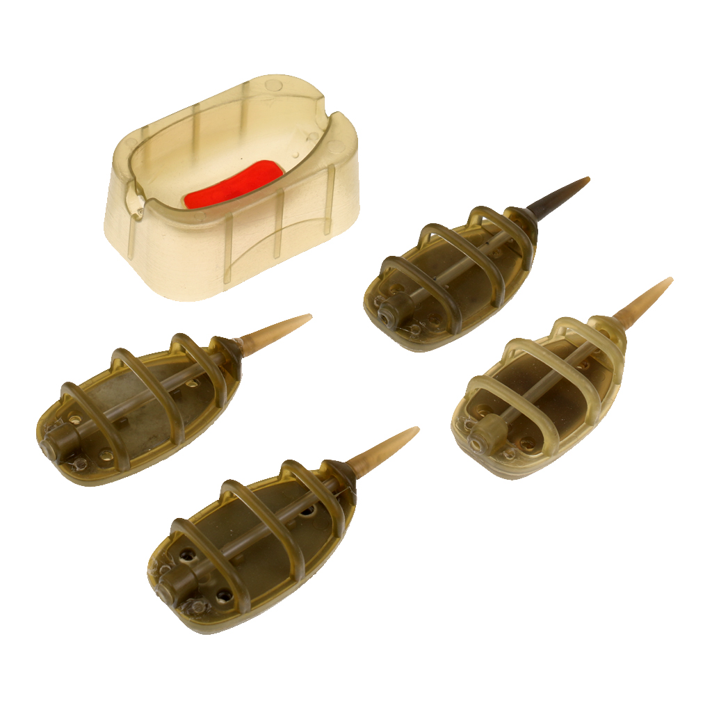 Carp Coarse Fishing Inline Method Feeder Cage Baits Thrower /& Hair Rig Hook Set