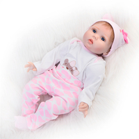 22 55cm Classic Popular Realistic Rooted Mohair Newborn Doll Soft Silicone Vinyl Lifelike Reborn Baby Dolls For Girls Gift