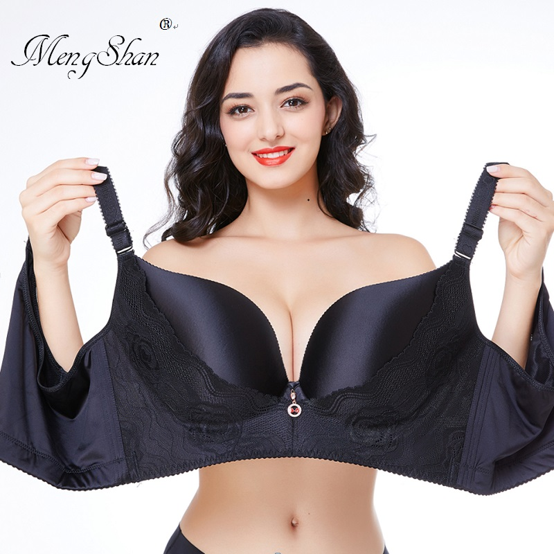 MengShan underwear women Agglomeration adjustment type big size bra Seamless Ring plus size bra Large cup push up bra in Bras from Underwear Sleepwears