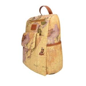 Image 3 - Retro Pouchy seyahat için sırt çantası Yüksek Kapasiteli Deri okul sırt çantası Dünya Haritası Baskı Sırt Çantası Iki Çanta Bir Set