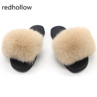 Fox Hair Slippers candy color Wome Home Fluffy Sliders Furry Summer Flats Sweet Ladies Shoes Large Size Cute Pantufas